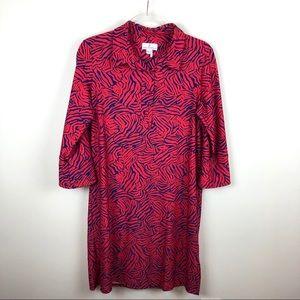 Jude Connally Red Blue Leaf Patterned Dress Large